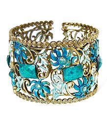 Blue Stone Studded Oxidised Metal Designer Cuff Bracelet