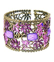 Purple Stone Studded Oxidised Metal Designer Cuff Bracelet