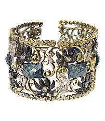 Black Stone Studded Oxidised Metal Designer Cuff Bracelet