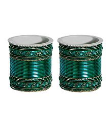 Set of 2 Stone Studded Dark Cyan Metal Bangles