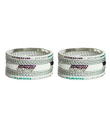 Set of 2 Multicolor Stone Studded White Metal Bangles