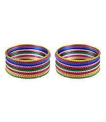 Set of 2 Multicolor Metal Bangles