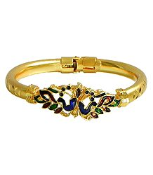 Meenakari Peacock Design Gold Plated Hinged Bracelet