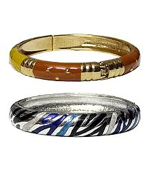 Set of 2 Metal Hinged Bracelets