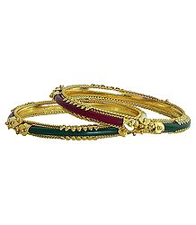 Pair of Gold Plated Red with Green Pola