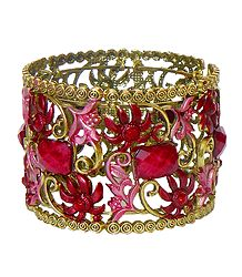 Red Stone Studded Oxidised Metal Designer Cuff Bracelet