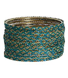 Cyan with Golden Glitter Bangles