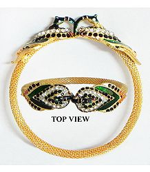 Stone Studded and Gold Plated Peacock Design Cuff Bracelet