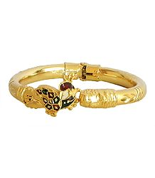 Stone Studded and Gold Plated Hinged Bracelet
