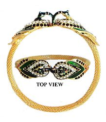 Meenakari Peacock Design Stone Studded and Gold Plated Cuff Bracelet