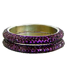 Pair of Purple Stone Studded Bangles