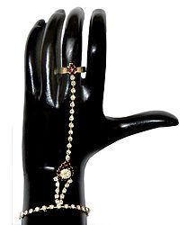 White and Maroon Stone Studded Ratanchur For One Hand