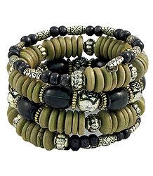 Olive Green, Black and Metal Bead Spiral Bracelet