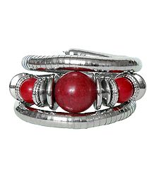 Metal Spring Bracelet with Red Stone