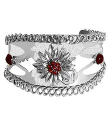 Red Stone Studded Metal Cuff Bracelet