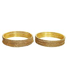 12 Golden Glitter Synthetic Bangles