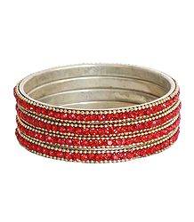 Red Stone Studded Bangles
