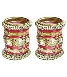 Golden with Red Glitter Bangles