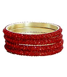Four Red Stone Studded Bangles