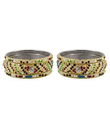 Set of 2 Multicolor Stone Studded Golden Bangles