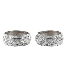Set of 2 White Stone Studded Bangles
