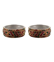 2 Sets of Multicolor Stone Studded Bangles
