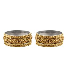 2 Sets of Golden Stone Studded Bangles