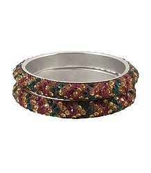 A Pair of Multicolor Stone Studded Bangles