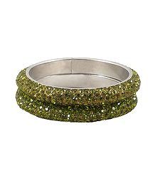 A Pair of Olive Green Stone Studded Bangles