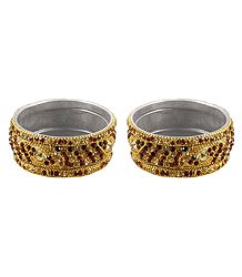 Set of 2 Stone Studded Metal Bangles