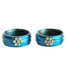 Pair of Stone Studded Cyan Bracelet