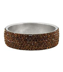 Brown Stone Studded Metal Bracelet