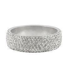 White Stone Studded Metal Bracelet