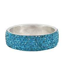 Light Cyan Blue Stone Studded Metal Bracelet