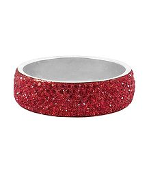 Shop Online Red Stone Studded Metal Bracelet