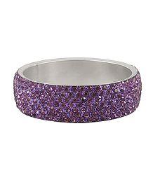 Light Purple Stone Studded Metal Bracelet