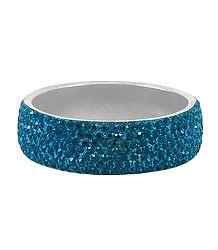 Dark Cyan Stone Studded Metal Bracelet