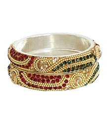 Pair of Red, Green and Peach Stone Studded Bangles