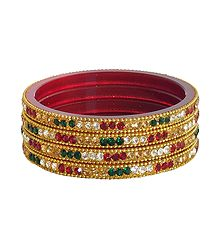 Red, Green and White Stone Studded Bangles