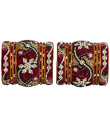 Two Sets of Magenta, White, Green and Yellow Stone Studded Bangles with Yellow Churis