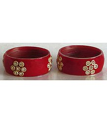 Pair of Stone Studded Red Bracelet