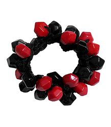 Black and Red Acrylic Beaded Stretch Bracelet