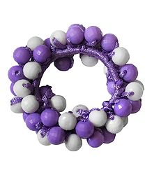 Mauve and White Acrylic Beaded Stretch Bracelet