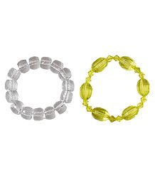 Set of 2 White and Yellow Acrylic Beaded Stretch Bracelet