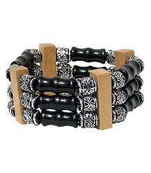 Wood and Metal Beads Stretch Bracelet