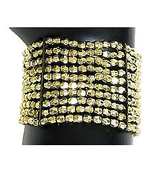 Golden Acrylic Bead Stretch Bracelet