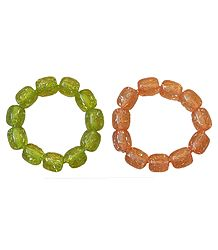 Set of 2 Green and Peach Beaded Stretch Bracelet