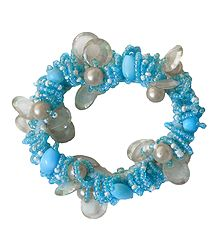 Blue with White Stretch Bracelet