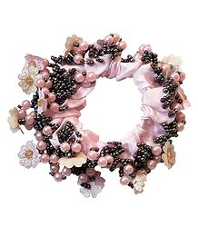 Pink with Black Beaded Stretch Bracelet