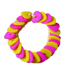 Pink and Yellow Heart Shaped Stretch Bead Bracelet